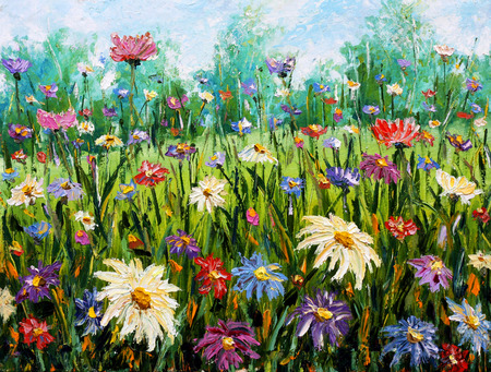 field of daisies: Original oil painting of flowers,beautiful field flowers on canvas. Wildflowers. Modern Impressionism. Impasto artwork.