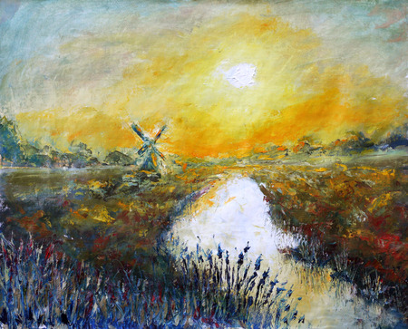 holland windmill: Original oil painting of sunset, beautiful abstract windmill on canvas. Beautiful autumn sunrise over the river. Impressionism.