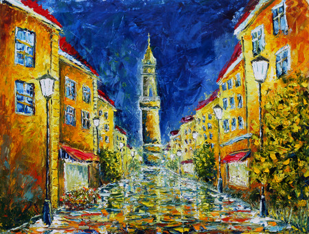 oil lamp: Original oil painting of night city, beautiful yellow building on canvas. Lonely rainy night street. Modern Impressionism.