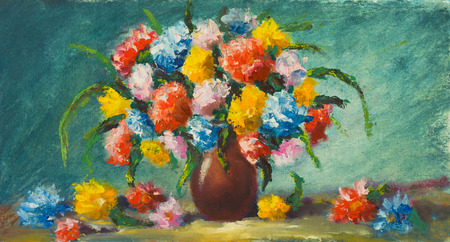 Vase flowers. Original oil painting of beautiful flowers on canvas.Modern Impressionism.