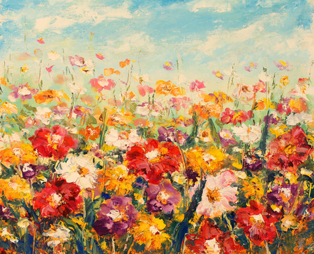 Beautiful field flowers on canvas. Field warm flowers. Impasto