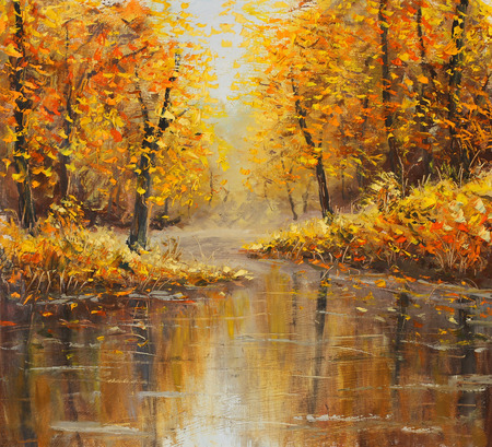 landscape painting: Golden autumn in river. Yellow oil painting. Art.