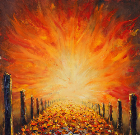 nirvana: Original oil painting of road, abstract red light on canvas. Abstract bridge.
