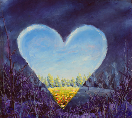 Heart, spring heart on canvas. Open heart. Knife art. Standard-Bild