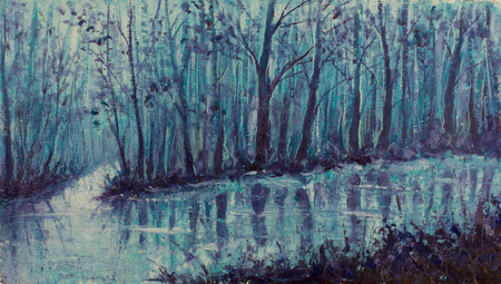 Magical creek. River in mystical forest. Impasto artwork. photo