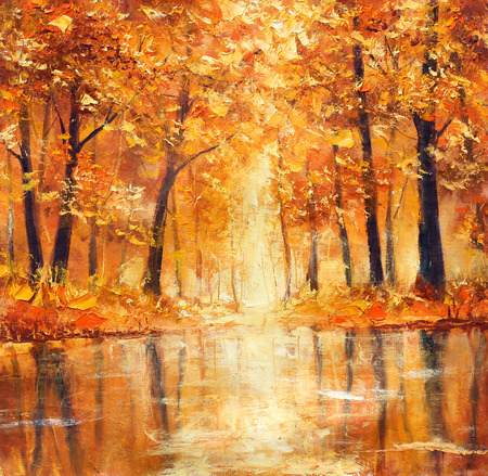 autumn trees: Reflection of autumn trees in water. Painting.