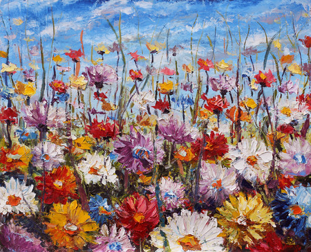 painting of flowers,beautiful field flowers on canvas Standard-Bild