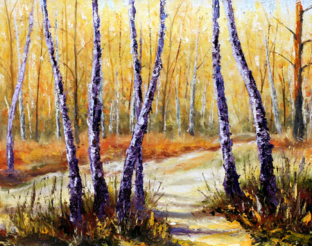 Birch trees in a sunny forest. Palette knife artwork. Impressionism. Art. Stock Photo