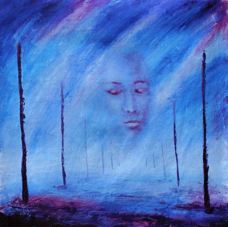 pintura en la cara: Pintura abstracta. Cara de niebla. Después de la muerte. Camino de la vida. Polacos. Púrpura.
