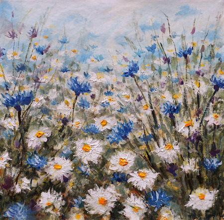 Flowers. Glade of cornflowers and daisies. Summer flowers. Stock Photo