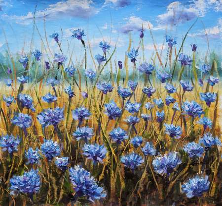 abstract paintings: Flower Field. Blue flowers in meadow. Blue sky. Oil painting.