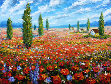 field of flowers: Flower painting Field of red poppies. ORIGINAL oil painting of flowers, beautiful field flowers on canvas.Field red flowers. Modern Impressionism.Impasto artwork. Rural landscape warm flowers art. Stock Photo