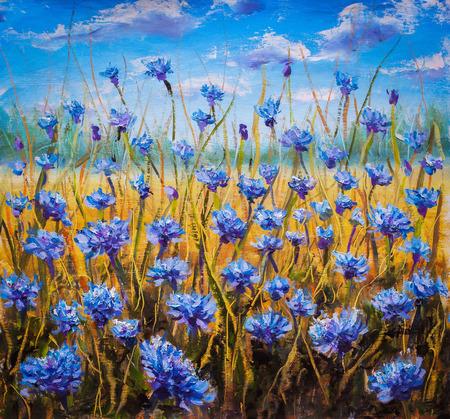 Bloemen veld bij zonsopkomst. Flower olieverfschilderij achtergrond. Landschap van veelkleurige bloemen. Impressionist olieverfschilderij bloemen.