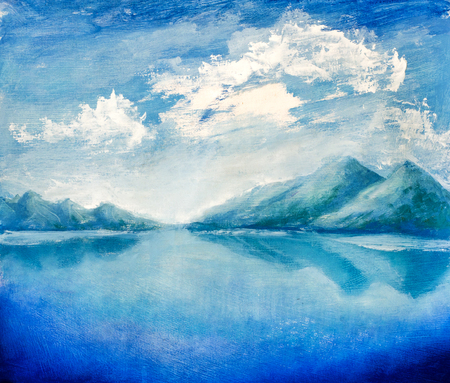 Bright mountains reflected in water. Clouds over mountains. Hand made oil painting on canvas. Standard-Bild