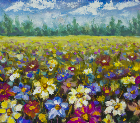 field flowers: Flowers field at sunrise. Flower oil painting background. Landscape of multicolored flowers. Impressionist oil painting flowers. Stock Photo