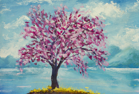 sakura flowers: Blooming sakura on water oil painting. Stock Photo
