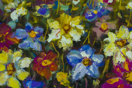 macro flowers: Big flowers. Close up fragment of oil painting artistic flowers image. Palette knife flowers macro. Macro artists impasto flowers, texture mixed oil paints flowers. Stock Photo