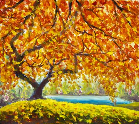 Big autumn tree near the river. Gold, red, orange autumn leaves. Handmade Oil Painting. Autumn landscape. Impressionism art. artwork Stock Photo