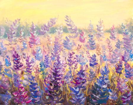 Field of delicate flowers Lavender. Blue-purple flowers in summer painting artwork.