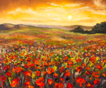 Colorful field of red poppies at sunset hand made oil painting on canvas. Impressionist art.