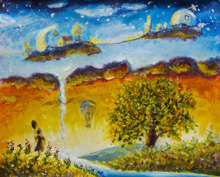fabulous: Magic Land childhood. Fabulous home on clouds. Little girl with ball. Big tree. Balloon. Stock Photo