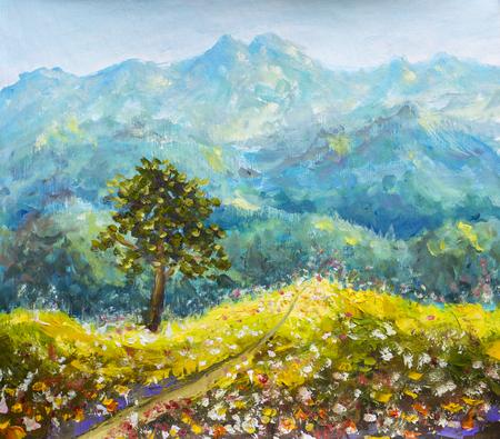 Kleurrijke bergen olieverfschilderij. Zonnige weg in de bergen. Zonne bloem weide met een boom op een achtergrond van prachtige hoge bergen met de hand gemaakt olieverfschilderij. Impressionistische kunst.