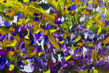 palette knife: Big  texture flowers. Close up fragment of oil painting artistic flowers image. Palette knife flowers macro. Macro artists impasto flowers, texture mixed oil paints flowers. Stock Photo