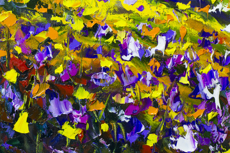 Big  texture flowers. Close up fragment of oil painting artistic flowers image. Palette knife flowers macro. Macro artists impasto flowers, texture mixed oil paints flowers. Stock Photo