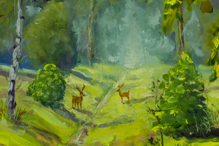 artwork painting: Forest oil painting, beautiful Deer in forest on canvas. Modern Impressionism Art. Impasto artwork. Stock Photo