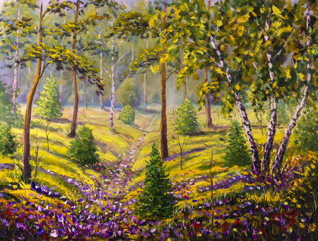 artwork painting: Original oil painting of pine trees and bushes, beautiful meadow flowers on canvas. Modern Impressionism Art. Impasto artwork.
