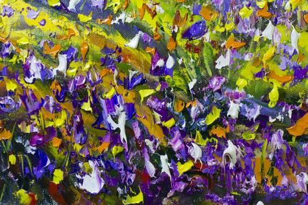 macro flowers: Big  texture flowers. Close up fragment of oil painting artistic flowers image. Palette knife flowers macro. Macro artists impasto flowers, texture mixed oil paints flowers. Stock Photo