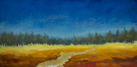 Original oil painting ofroad in the field leads to the forest, the blue sky over a field on canvas. Modern Impressionism Art. Artwork.