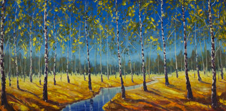 artwork painting: Original oil painting of River in a birch grove on canvas. Modern Impressionism Art. Artwork.