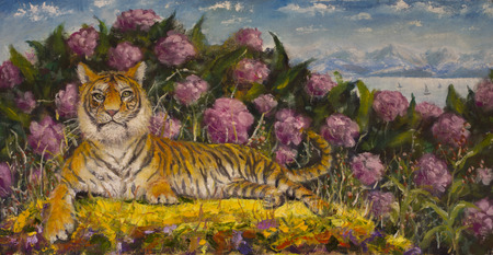 artwork painting: Original oil painting of portrait of a tiger on the summer flower meadow on canvas. Modern Impressionism Art. Artwork. Stock Photo