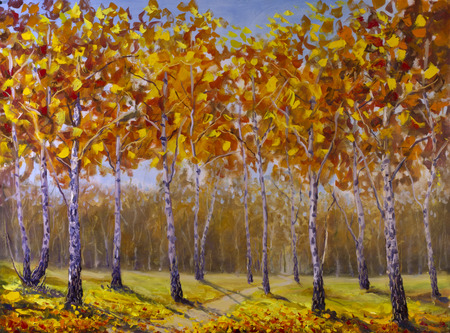 artwork painting: Original oil painting of road in a birch grove, fallen autumn leaves on canvas. Modern Impressionism Art. Artwork.