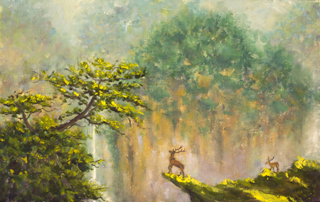 fog forest: Original oil painting of deer on the edge of a cliff in a mountain forest on canvas. Modern Impressionism Art. Artwork.