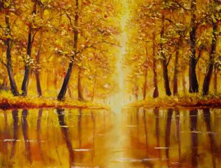 artwork painting: Original oil painting of River in autumn forest on canvas. Modern Impressionism Art. Artwork. Stock Photo