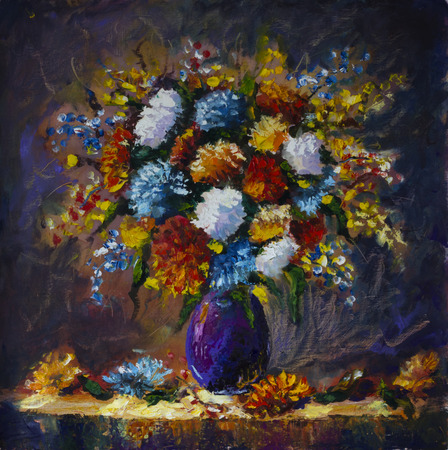 artwork painting: Original oil painting of bouquet of wild flowers in a vase on canvas. Modern Impressionism Art. Artwork.