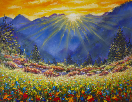 flower fields: Original oil painting of sunrise over a flower meadow in the mountains on canvas. Modern Impressionism Art. Artwork.