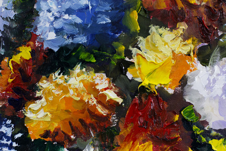 macro flowers: Big texture flowers Close up fragment of oil painting artistic. Palette knife . macro. Macro artists impasto , texture mixed oil paints .