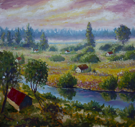 fog forest: Original oil painting of Evening on the river in the village on canvas. Modern Impressionism Art. Artwork.
