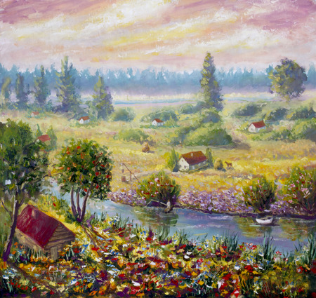 fishing village: Original oil painting of morning on the river in the village on canvas. Modern Impressionism Art. Artwork. Stock Photo