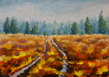Original oil painting field on canvas. Beautiful  Road through field landscape. Modern  far forest impressionism painting.