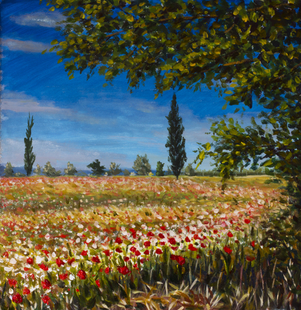 Original oil painting on canvas. Beautiful French landscape, rural landscape Field of red poppies landscape. Modern impressionism painting.