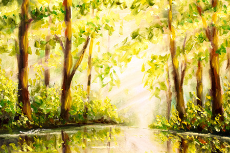 River in forest - Original oil painting on canvas. Beautiful Reflection of trees in water landscape. Modern impressionism art. Stock fotó