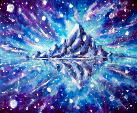 Cosmic mountain landscape with reflection. Painting with acrylic on canvas artwork Modern impressionism art.