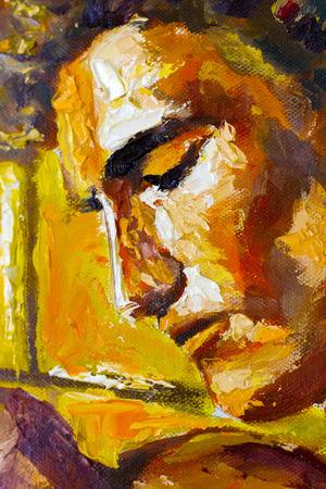 Origineel olieverfschilderij op doek. Mooi hoofdportretkunstwerk. Fassion illustratie. Modern impressionisme kunst. Stockfoto