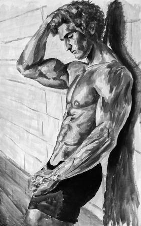 Noir et blanc Naked athlète au mur Peinture à l'huile originale sur toile. Belle oeuvre artisanale sexy à la main. Fassion illustration. Impressionisme moderne art. Banque d'images - 81199955
