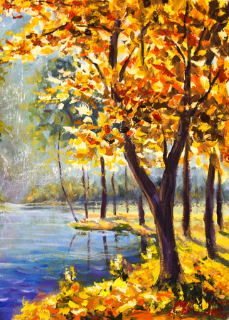 Original oil painting autumn orange gold Tree on shore against the backdrop of blue mountain river. Beautiful  landscape. Modern impressionism painting art. Stock Photo