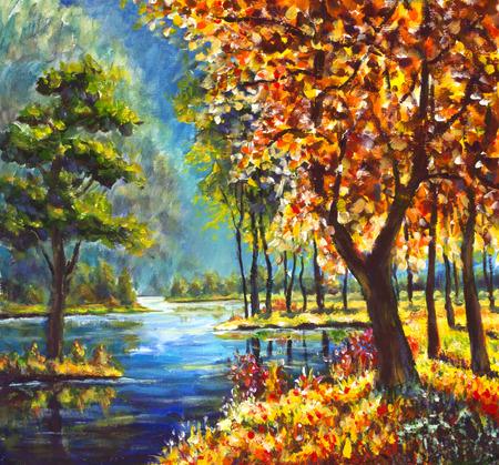 元の油絵金紅葉と背景には青い山川の岸に緑の松の木。美しい日当たりの良い山の風景。現代印象派絵画芸術。